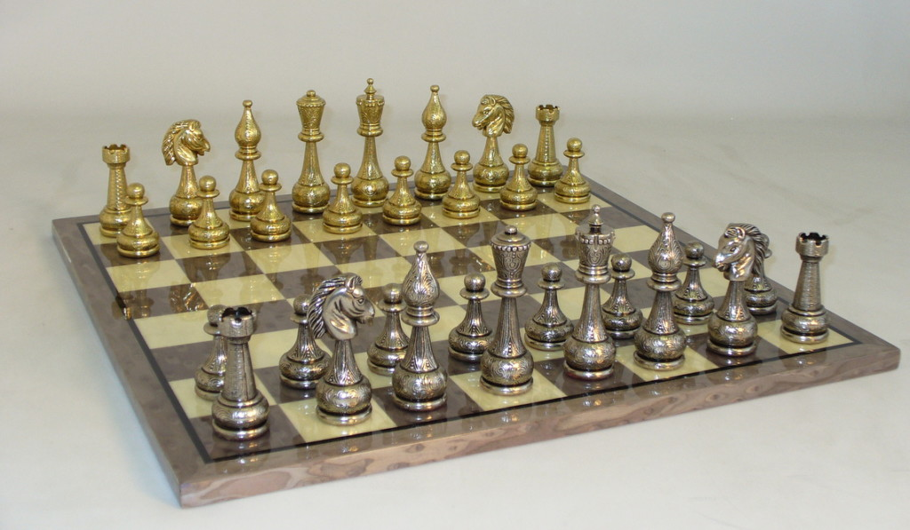 Metal & Brass Chess Set - 82M-GY