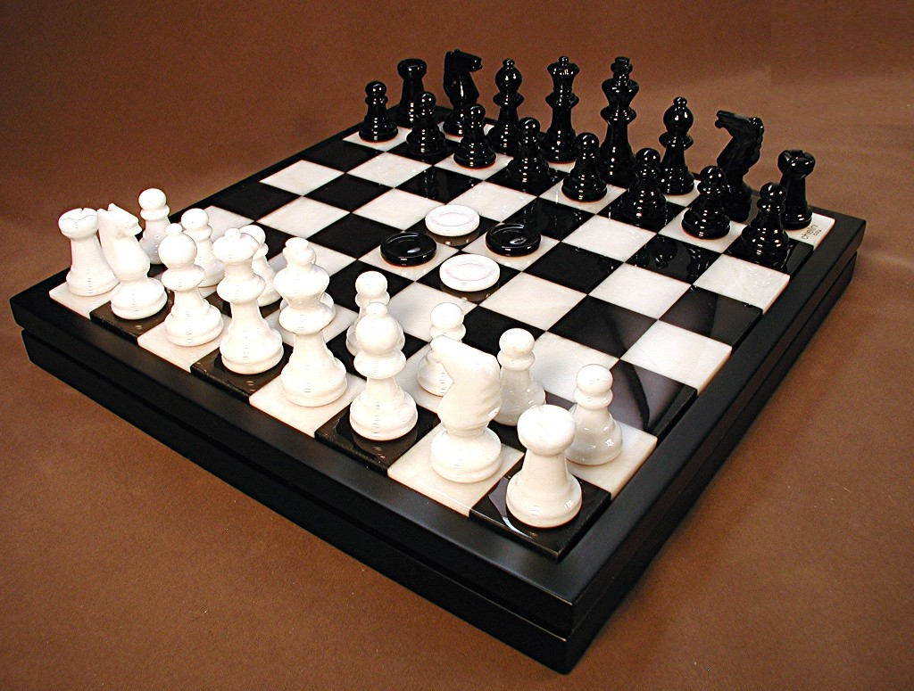 Alabaster Chess and Checker Set - NS34BK