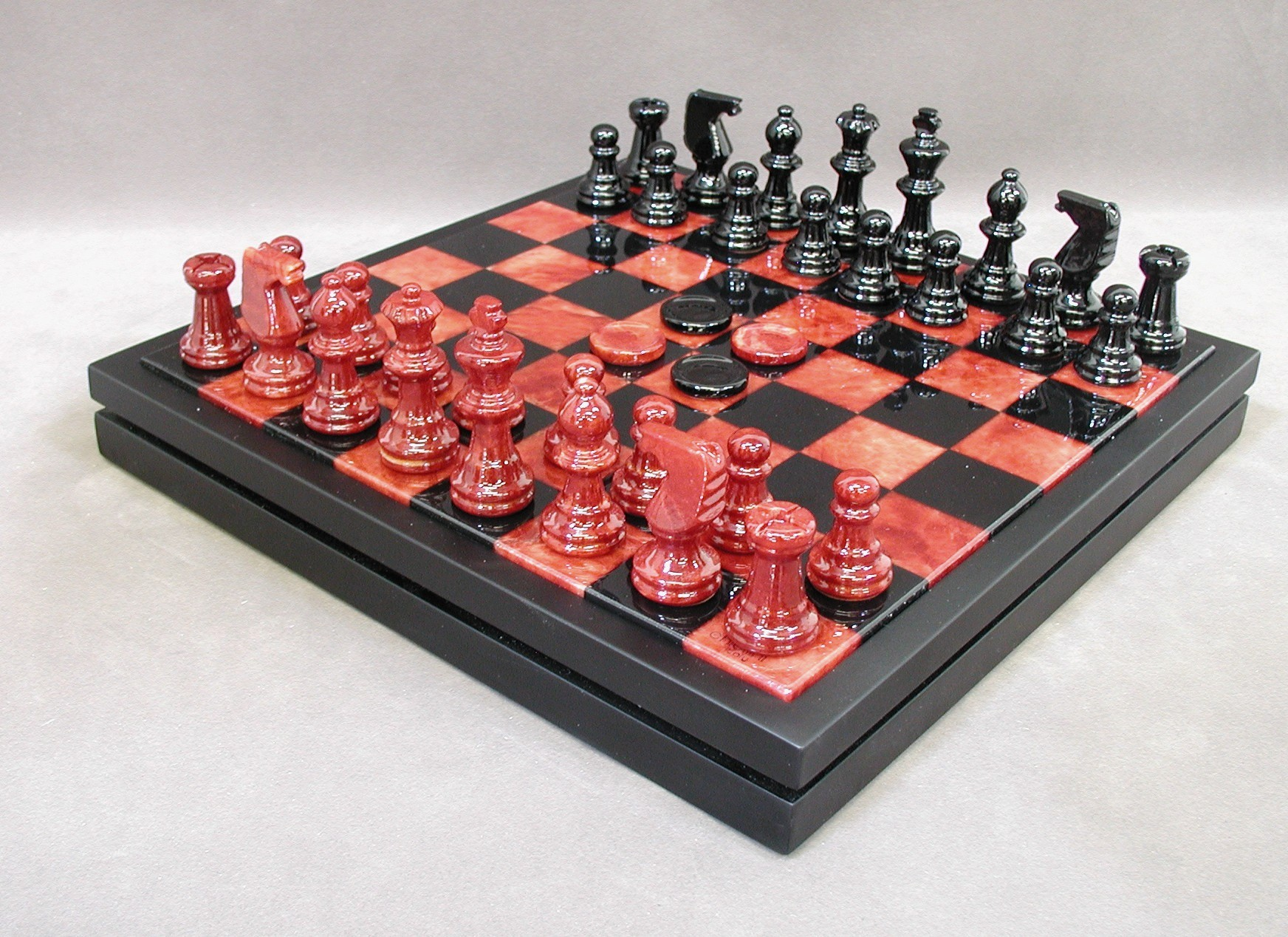 Alabaster Chess and Checker Set - NS34RB