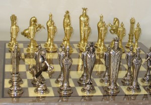 Metal and Brass Chess Set - 48M-GY