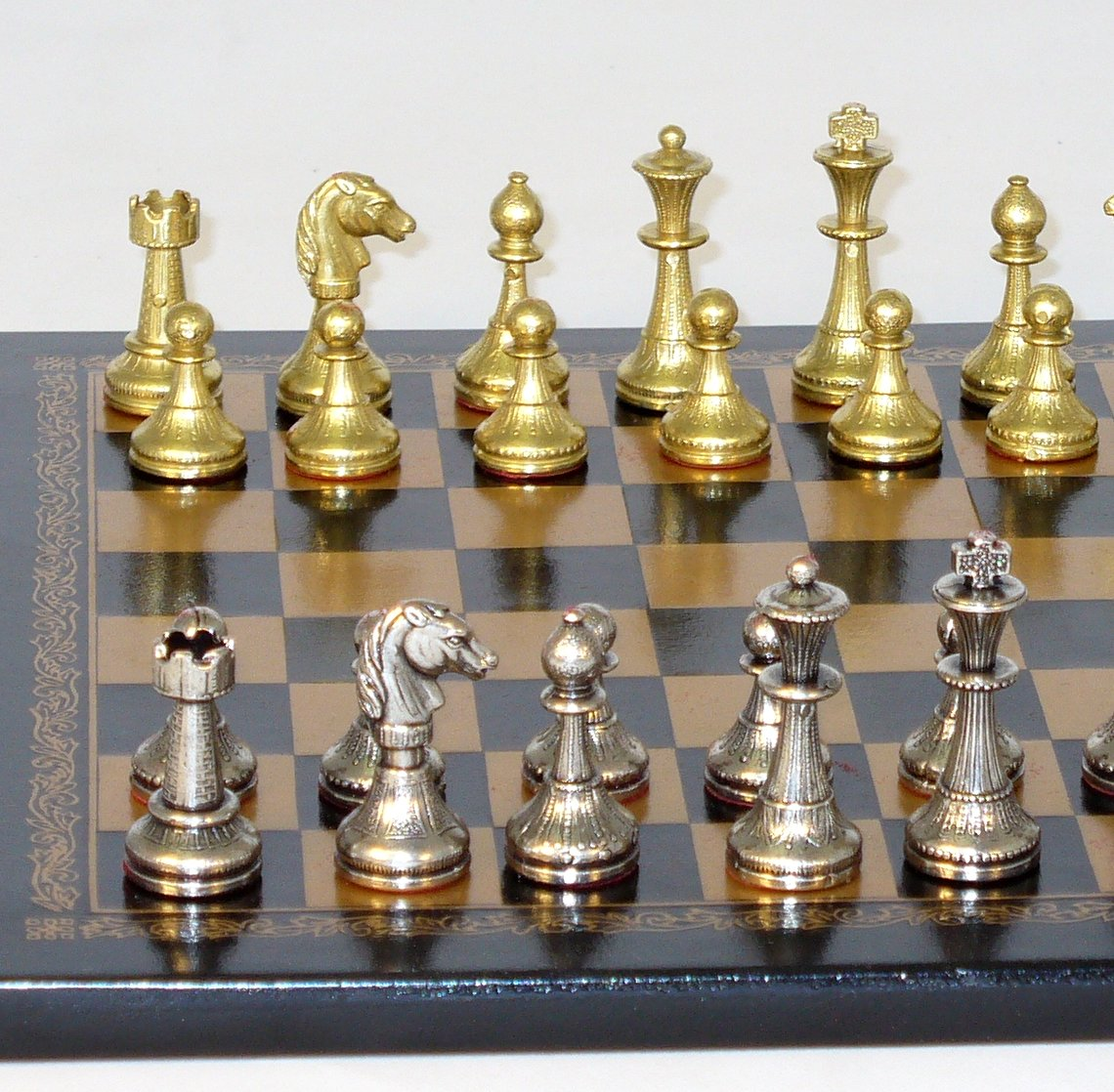 Metal and Brass Chess Set - 65M-204GN