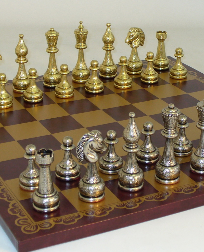 Metal and Brass Chess Set 82M-203GR