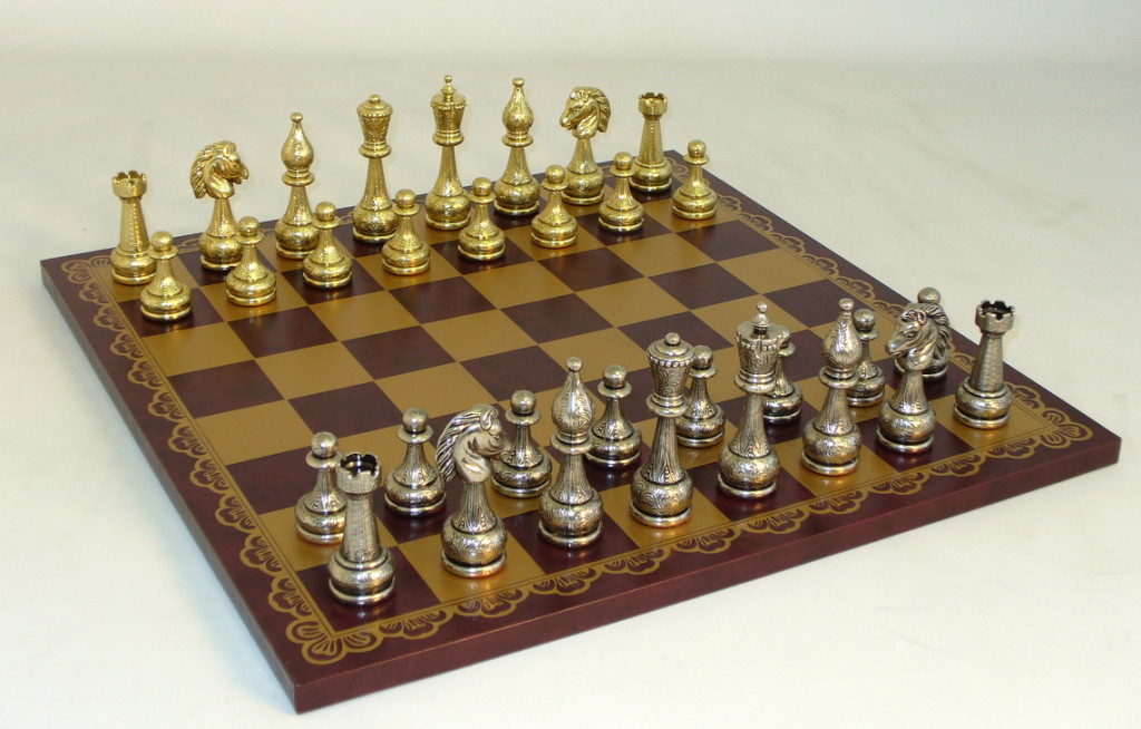Metal and Brass Chess Set - 82M-203GR