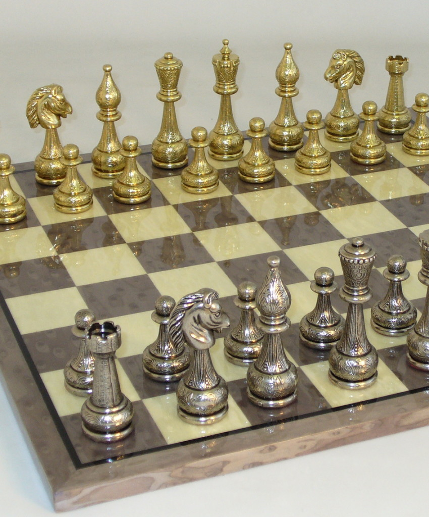Metal and Brass Chess Set  -82M-GY