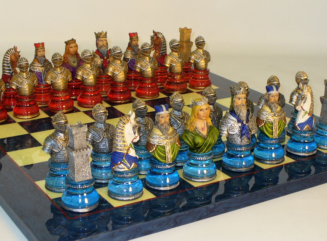 Resin Camelot Busts Chess Set