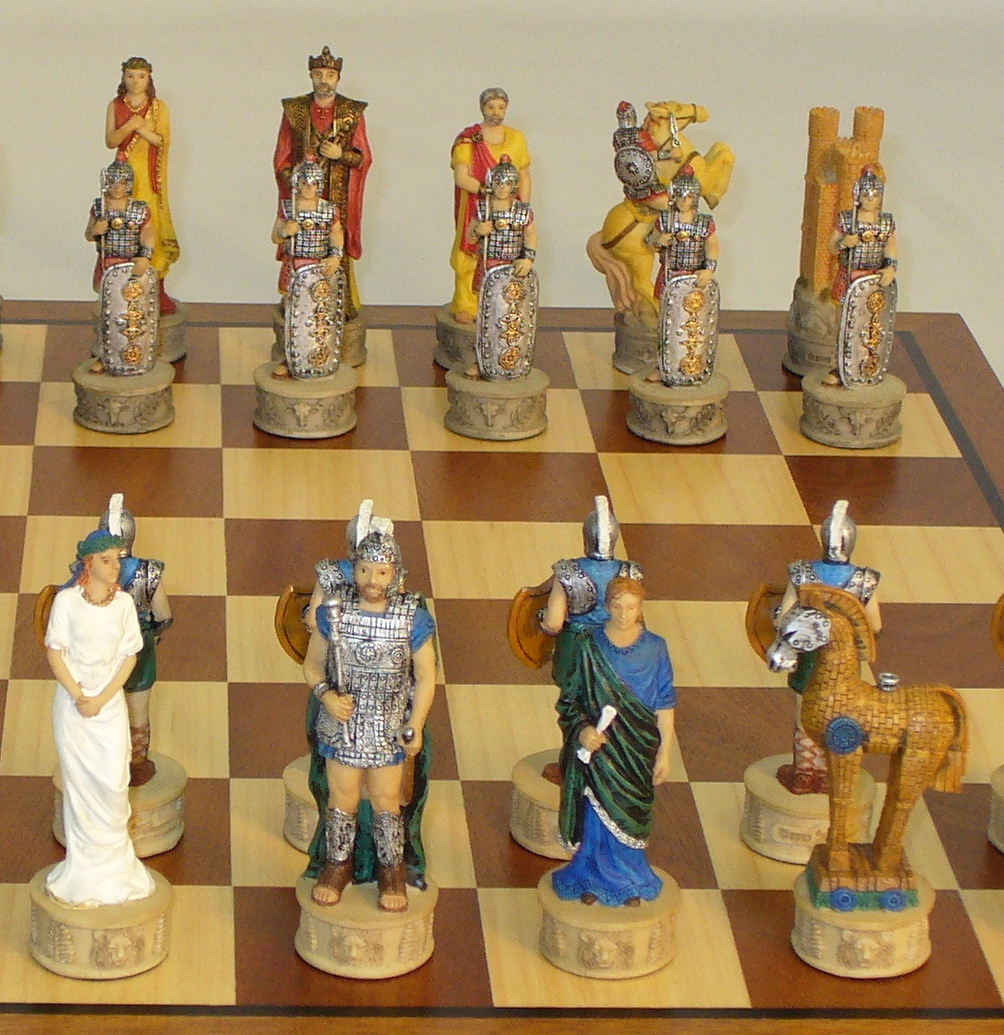 Resin Troy vs Sparta Chess Set