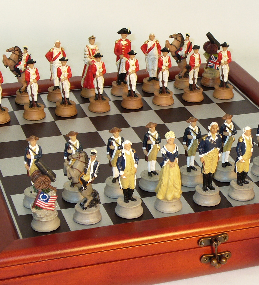 Resin American Revolution Chess Set